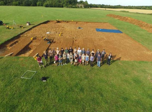 Aerial shot of students at the long barrow excavation site.