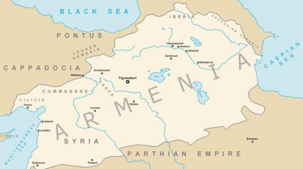 The Kingdom of Armenia at its greatest extent under Tigranes the Great.