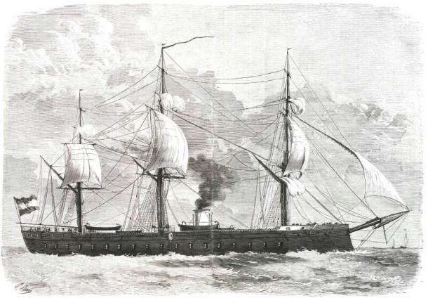 Illustration of the armored frigate Numancia.