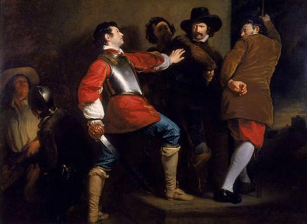 Painting showing the arrest of Guy Fawkes by the Royalist soldier Sir Thomas Knevet; Guy Fawkes (1570-1606) had been attempting to blow up the Houses of Parliament in the attack in 1605.