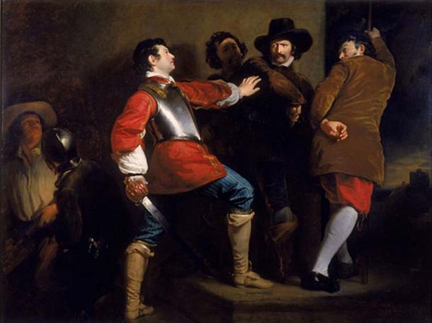 Painting showing the arrest of Guy Fawkes – only 1 of the goup of conspirators - by the Royalist soldier Sir Thomas Knevet; Guy Fawkes (1570-1606) and Robert Catesby among others had been attempting to blow up the Houses of Parliament in the attack in 1605.