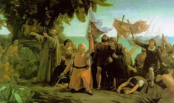 'Columbus and the Pinzón brothers arrive in America.' (1862) by Dióscoro Puebla