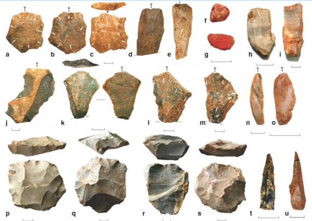Key artifact types at Dhaba from 80 to 25 ka. a–c Levallois flakes. d, e Levallois blades. f, g Ochre. h, i Microblade cores. j Notched scraper. k–m Levallois points. n, o Agate and chert microblades. p–s Recurrent Levallois cores. t, u Backed microliths. White arrows indicate scar directions. Black arrows with circles indicate impact points. (Clarkson et al.)