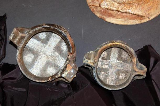 Two of the artifacts discovered in the tomb.