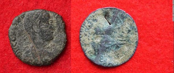 Two artifacts found at Katsuren Castle: A Roman coin