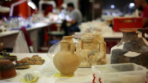 A closeup of a few of the artifacts found at the Piraeus port aqueduct discovery digs