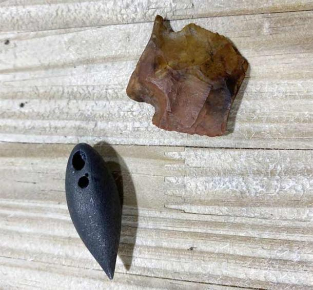 The two artifacts found in the Mississippi alligator's stomach: the 6,000-BC atlatl dart point (top), and the black plummet stone from 1,700 BC (bottom). (Shane Smith / Clarion Ledger)