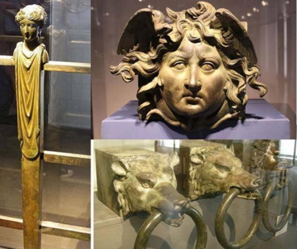 Some of the decorations from Caligula's Nemi ships: A bronze railing ( CC BY SA 2.0 ), a face (Miguel Hermoso Cuesta/ CC BY SA 3.0 ), and brass rings recovered in 1895. These were fitted to the ends of cantilevered beams that supported each rowing position on the seconda nave. ( CC BY SA 3.0)