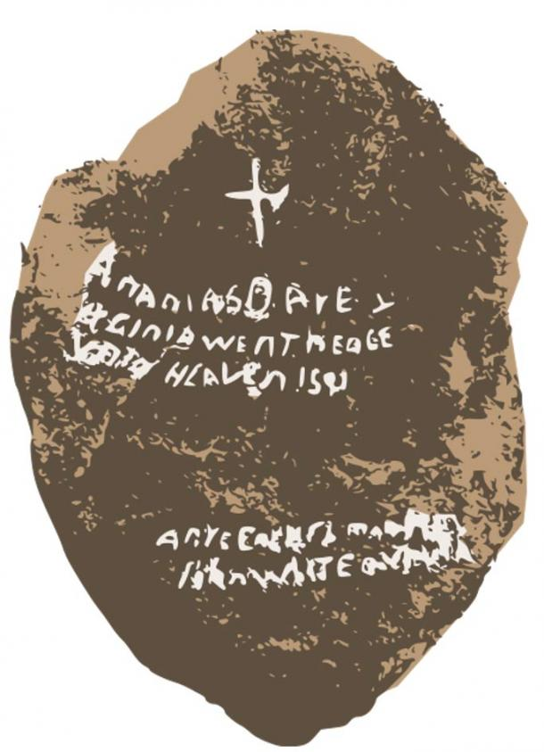 An artistic depiction of the original Dare Stone and the writing on the front.