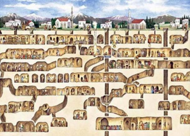 An artistic reconstruction of the underground city of Derinkuyu.