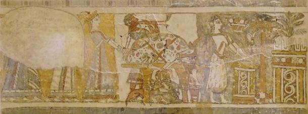 Long side of the artwork, depicting a bull and a woman possibly making an offering of its blood.