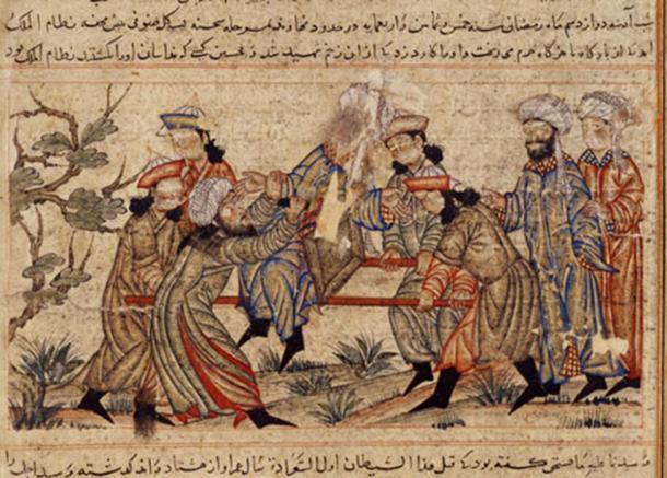 A 14th century painting depicting the assassination of Nizam al-Mulk.
