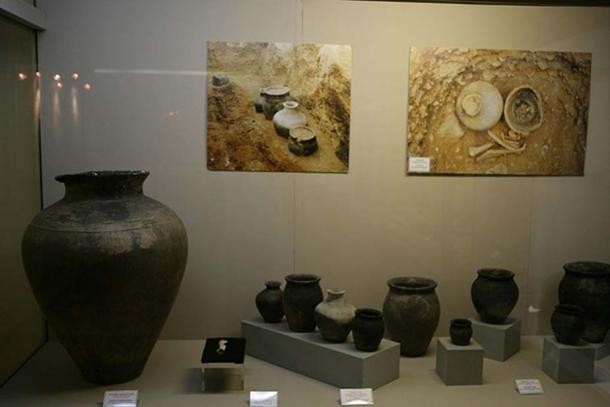 An assortment of ancient Mongolian pottery stands on display inside the National Museum of Mongolian History in Ulaanbaatar, Mongolia. The museum preserves the Mongolian cultural heritage. (Public Domain)
