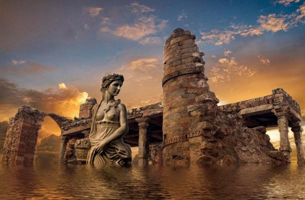 Atlantis was described as having huge entrance pillars and enormous harbour walls.