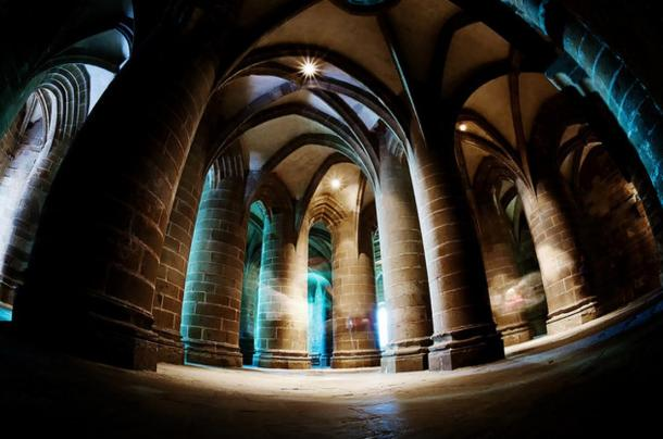 The atmospheric interior of Mont St-Michel.
