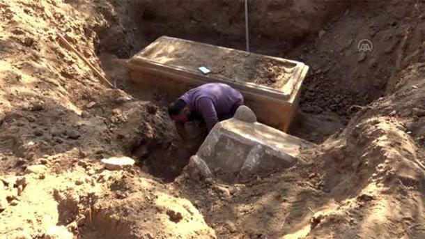 After being tipped off about suspicious activity, Turkish authorities conducted surveillance which led to the impressive discovery of an illegal dig which had unearthed the sarcophagi in Turkey. (Anadolu Ajansi)