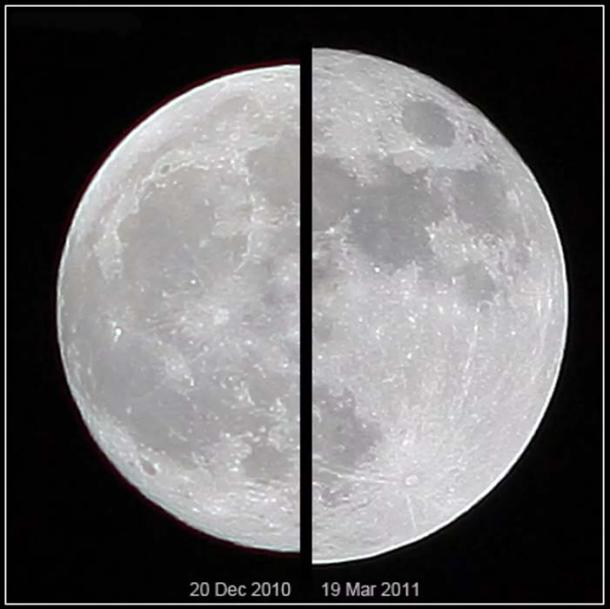 Appearance of an 'average' moon versus a supermoon.