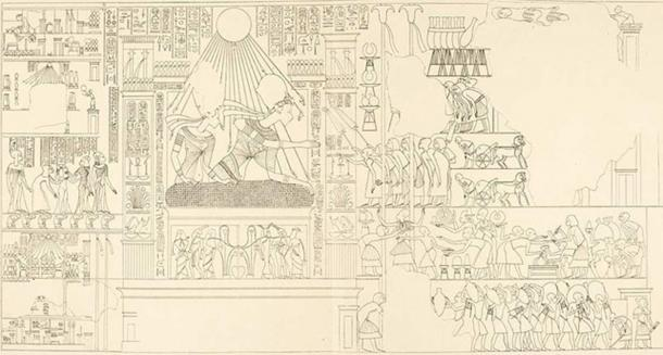 An award scene with Akhenaten and Nefertiti from the tomb of Parennefer (Amarna tomb 7).