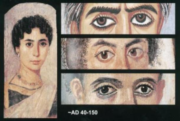 Deviation of visual axes of the eyes (tropia) and corectopia in mummy portraits. A woman in a blue tunic on the left to show, in this accomplished portrait, the lifelike quality of the eyes. Esotropia and slight exophthalmus-left (upper right) in an elderly woman.