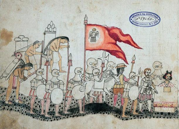 Aztec codex depicting the Spanish army, with Cortés and Malinche in front. (Racconish / Public Domain)