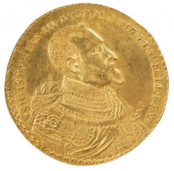 The reverse side of the 1621 gold Polish coin showing a side profile portrait of king Zygmunt III Waza of Poland. (DESA Unicum)