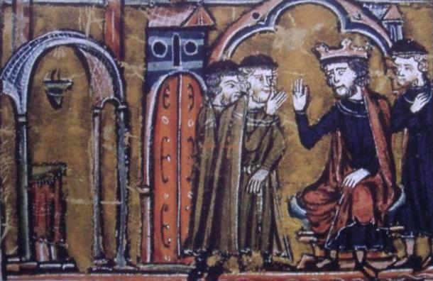 Baldwin II ceeding the location of the Temple of Solomon to Hugues de Payns and Gaudefroy de Saint-Homer.