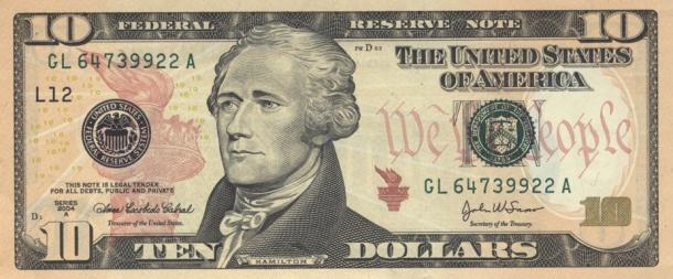 Dirty cash – A study showed 80% of ten dollar bills tested across America had traces of cocaine