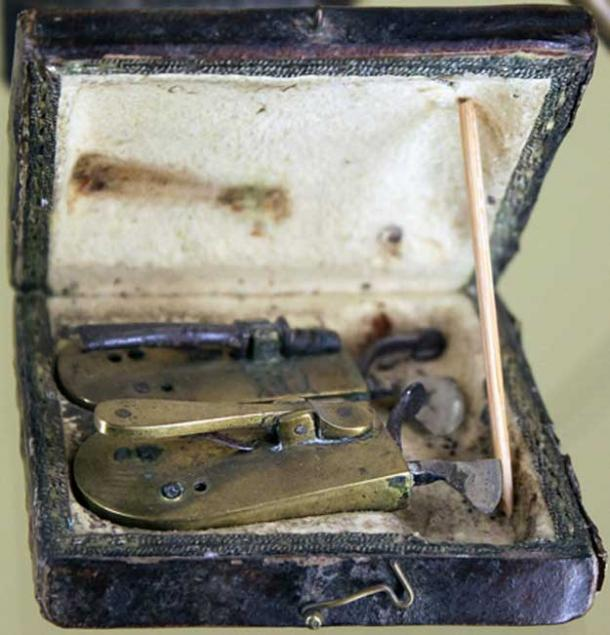 A barber surgeon's bloodletting set.