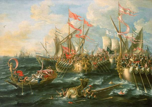 A baroque painting of the battle of Actium by Laureys a Castro, 1672.