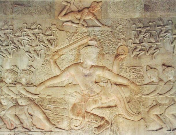 A bas-relief at Angkor Wat depicts the devas and asuras