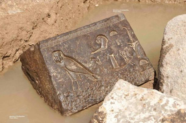 This carved basalt block showing a falcon was found earlier this year at Nectanebo's shrine.
