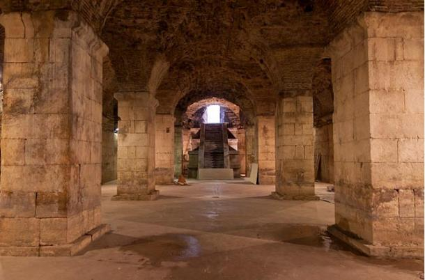 The well-preserved basement in the west wing of Diocletian's Palace, and the film set for the Game of Thrones TV series
