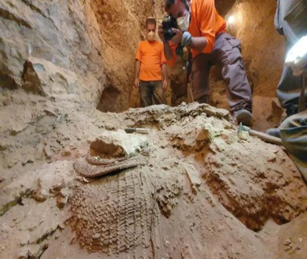The 10500-year-old basket as it was found in the Muraba'at Cave. (Yoli Schwartz / Israel Antiquities Authority)