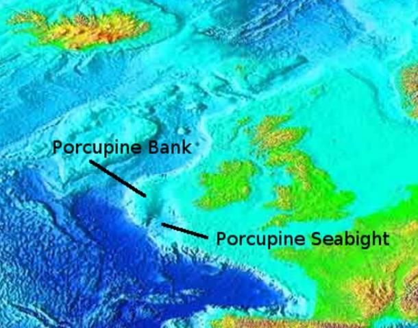 Porcupine Bank and Seabight, bathemetry of the Northeast Atlantic