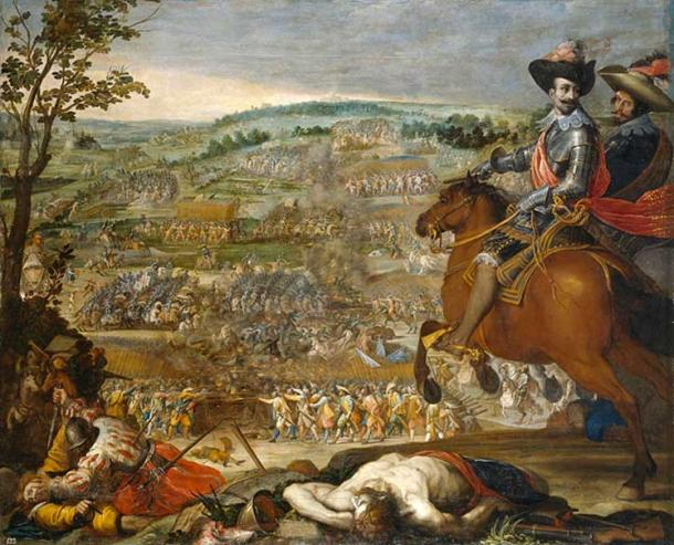 A scene of battle and death from another engagement during the Thirty Years' War (Battle of Fleurus, Aug 20, 1622.)