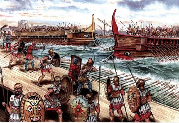 Depiction of a battle between Athens and Sparta in the Great Peloponnese War, 413 BC.