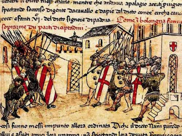 Depiction of a battle between the militias of the Guelph and Ghibelline factions in Bologna, Italy