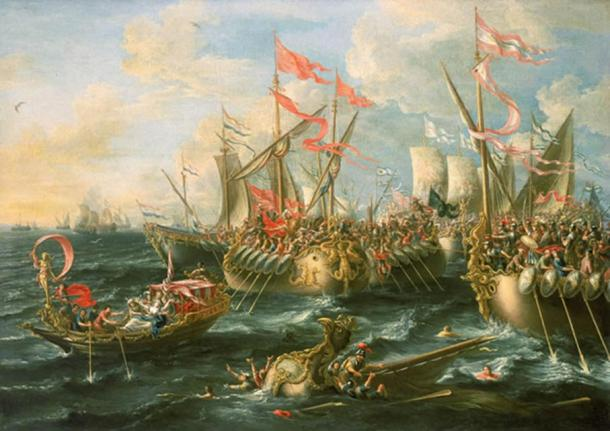 A baroque painting of the battle of Actium by Laureys a Castro, 1672. The Maritime Museum of Greenwich, Director's office, UK.