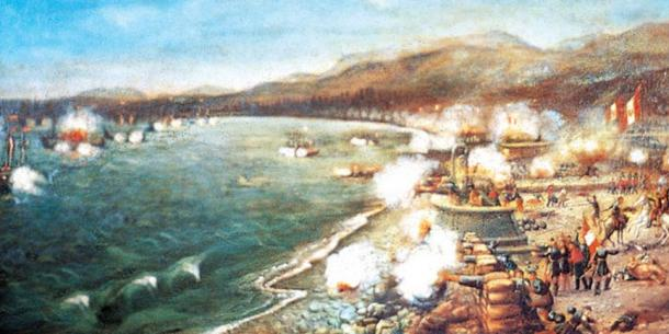 An artist's depiction of the battle of Callao.