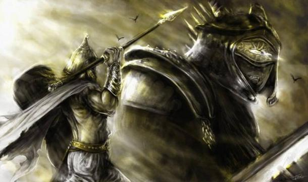The battle of Lugh and Balor.