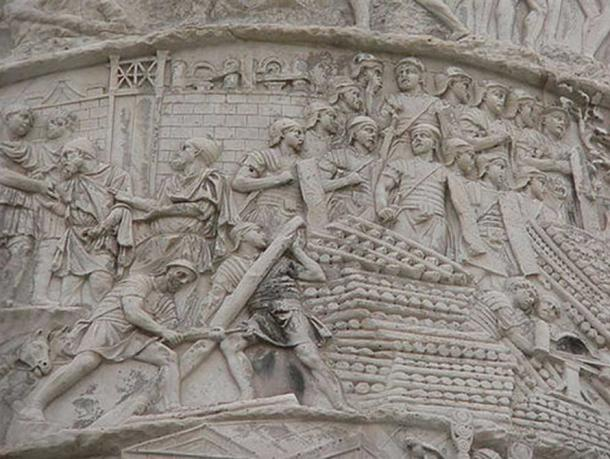 The intricate carvings depict the battle victories of Emperor Trajan