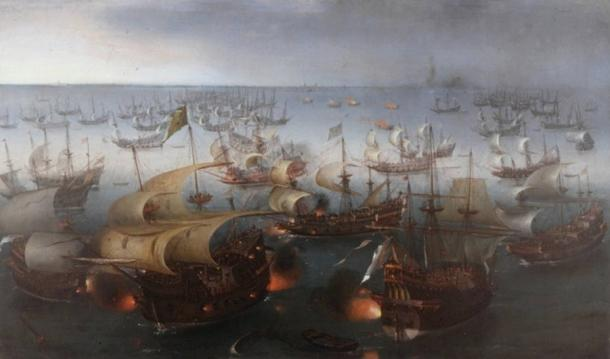 Day seven of the battle with the Armada, painted 1601, oil on canvas.