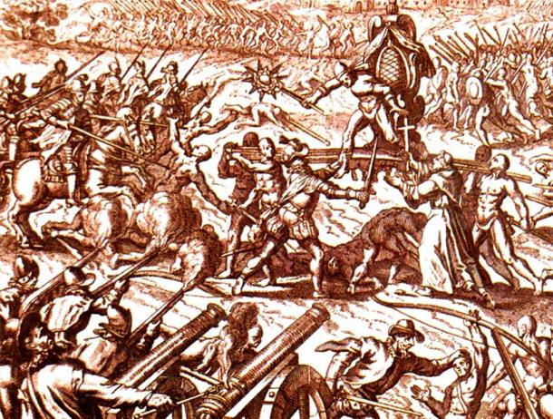 The Battle of Cajamarca, showing Emperor Atahualpa surrounded on his palanquin. (Simon chara / Public Domain)