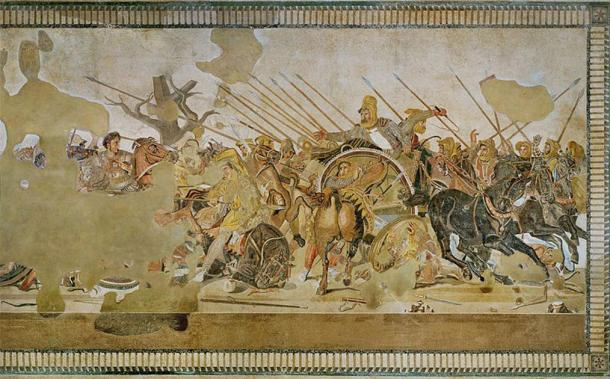 The battle of Issus between Alexander the Great and Darius of Persia. Floor mosaic, Roman copy after a Hellenistic original by Philoxenos of Eretria. (Public Domain)