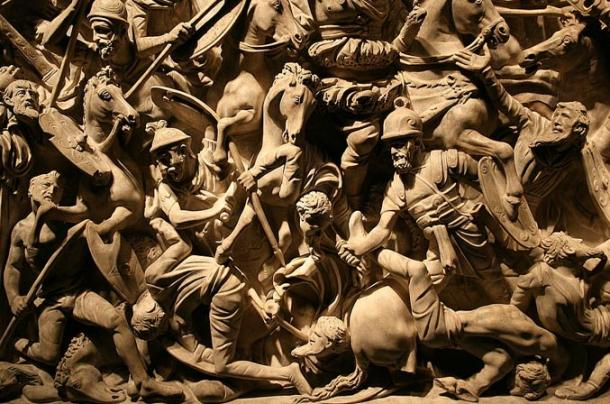 Scenes of battles between Romans, Sarmatians and Germans carved into a marble sarcophagus in Rome