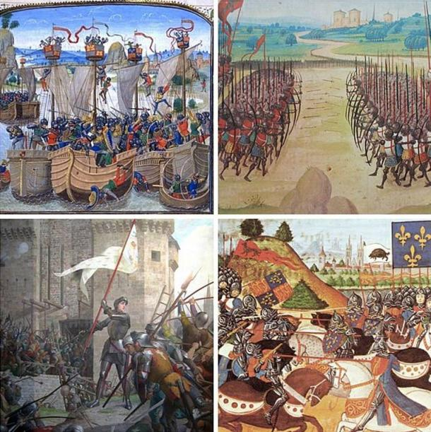 Collage of paintings representing battles of the Hundred Years' War. Clockwise, from top left: La Rochelle, Agincourt, Patay, Orleans.
