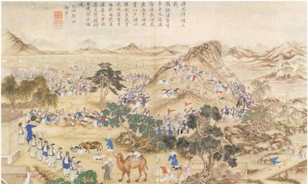 The Chinese battling Jahangir Khoja's forces in 1828. (Public domain)
