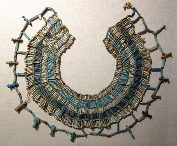 A beaded necklace from ancient Egypt, 664-332 BC, faience, carnelian, and limestone beads