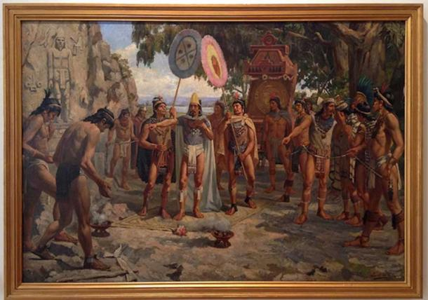 A bearded Moctezuma II, last Aztec ruler, visiting the tombs of his ancestors