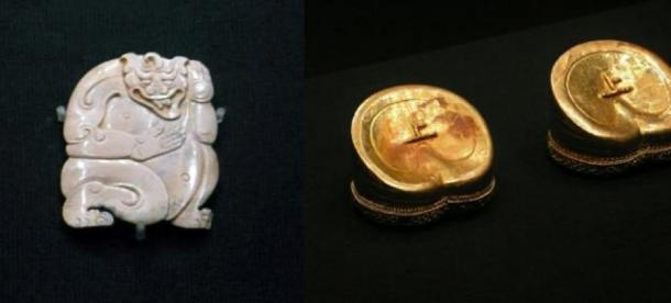 A beastly deity in jade (CC BY SA 4.0) and gold ingots (CC BY SA 4.0) found in the tomb of the Marquis of Haihun and ex Han Dynasty Emperor, Liu He.